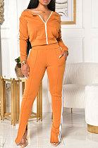 A Word Shoulder Long Sleeve Zipper Open Fork Leg Sexy Womenswear Fashion Casual Sets H1557
