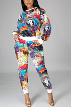 Casual Sporty Pop Art Print Long Sleeve Round Neck Long Pants Sets KZ191