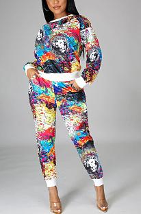 Ensembles de pantalons longs décontractés à manches longues et à col rond avec imprimé Pop Art KZ191