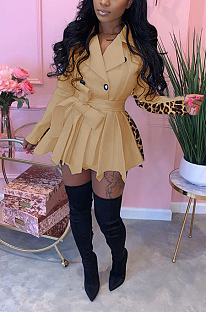 Night Out Sexy Leopard Camo Long Sleeve Self Belted Mini Dress K8938