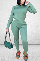 Casual Long Sleeve Round Neck Spliced Slant Pocket Tee Top Long Pants Sets YS439