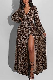 Night Out Sexy Leopard Langarm Deep V Neck Taille Krawatte Langes Kleid KZ188