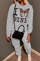 Fashion Casual Letter Butterfly Printing Long Sleeve Hooded Sporty Sets MF5195