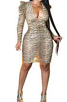 مثير ليوبارد كم طويل حزمة ضيقة تنورة الورك الخامس الرقبة نادي ملابس نسائية فستان QY5021