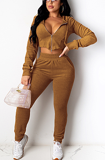 Modest Basics Long Sleeve Crop Top Hoodie Long Pants Sets MY9773