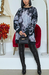 Casual Simplee Tie Dye Long Sleeve Round Neck Shirt Dress KZ178