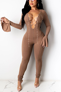 Night Out Sexy Long Sleeve Flounce Hollow Out Bodycon Jumpsuit KF234