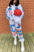 Casual Letter Long Sleeve Hoodie Long Pants Sets HG081