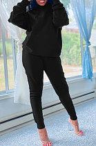 Sporty Winter New Style Hooded Fleece Pure Color Long Sleeve Long Pants Sets AWL5818