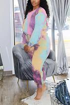 Autumn Winter Casual Tie Dye Long Sleeve Round Neck Tee Top Capris Pants Sets BDF8028