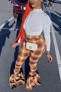 Casual Polyester Plaid Long Pants Flare Leg Pants BDF8039