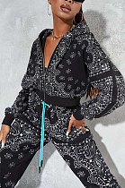 Casual Sporty Pop Art Print Round Neck Waist Tie Hoodie Long Pants Sets SMY8051