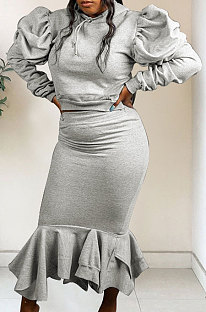 Fashion Pure Color Bubble Sleeve Long Sleeve Winter Skirt Two-Piece W8338