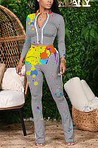 Basics Sporty Long Sleeve Round Neck Spliced Long Pants Sets YX9251