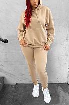 Casual Sporty Long Sleeve Slant Pocket Waist Tie Hoodie Long Pants Sets YYF8142