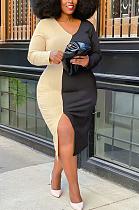 متواضع مثير طويلة الأكمام الخامس الرقبة تقسم فستان طويل Q6032