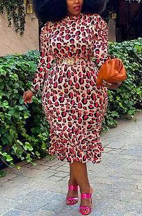 Casual Modest Leopard Long Sleeve Stand Collar Long Dress