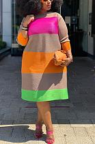 فستان كاجوال متواضع كم طويل رقبة دائرية فستان طويل Q6035