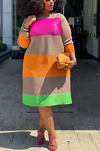 Casual Modest Long Sleeve Round Neck Spliced Long Dress Q6035