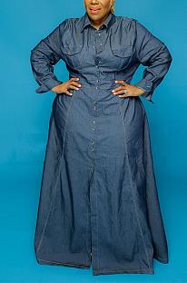 Casual Vintage Long Sleeve Square Neck Long Dress EF20902