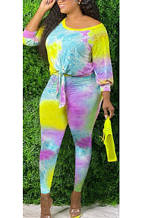 Lässige bescheidene Tie Dye Halbarm mit langen Ärmeln und langen Hosen Sets Q6025