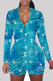 Casual Polyester Galaxy Graphic Long Sleeve V Neck Shorts Sets SDD9450