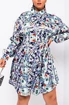 Robe chemise épissée à manches longues et décontractée sexy Pop Art HMM6357