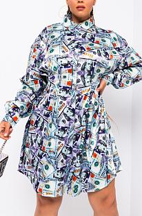 Lässig Sexy Pop Art Print Langarm Spleißhemd Kleid HMM6357