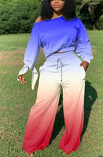 Lässige Langarm-T-Shirts mit rundem Farbverlauf, Halsausschnitt und breitem Bein ZY8089