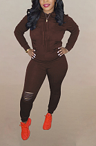 Casual Sporty Long Sleeve Round Neck Hoodie Long Pants Sets DN8543