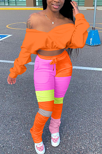 Sexy Langarm Off Shoulder Spliced Crop Top Lange Hosen Sets ZY8081