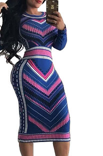 Casual Geometric Graphic Long Sleeve Wave Point Stripe Contrast Color Sexy Dress GL6075
