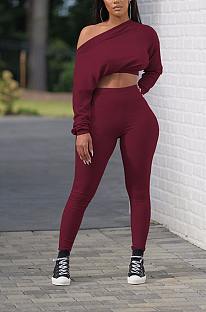 Sporty Long Sleeve Off Shoulder Crop Top Long Pants Sets W8342