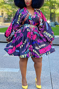 Modest Sexy Letter Long Sleeve V Neck Long Dress Q6036