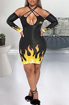 Sexy Pop Art Print Long Sleeve Cold Shoulder Mini Dress A Line Dress KSN5116