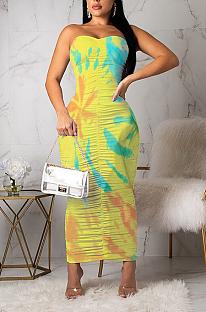 Sexy polyester mouwloze strapless ruches lange jurk LL6245