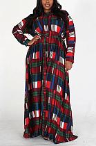 Bloqueio de cores casual manga longa decote em V oblíquo e bolso vestido longo CY1278