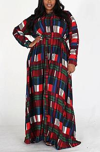 Casual Colorblock Long Sleeve V Neck Slant Pocket Long Dress CY1278