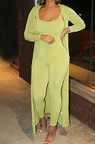 Pure Color Casual Long Sleeve Knitting Jumpsuits Two-Piece MY9729