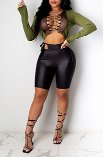 Sexy Polyester Mesh Long Sleeve V Neck Self Belted Spliced Crop Top ML7393