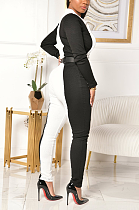 Sexy Polyester Long Sleeve Lapel Neck Spliced Bodycon Jumpsuit ZS0357