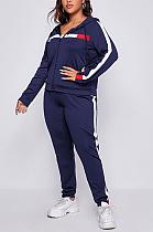 Casual Sporty Long Sleeve Zippers Spliced Hoodie Tee Top Sets SN2125