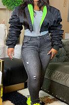 Fashion Long Sleeve Cardigan Bubble Sleeve Keep Warm Casual Down Jacket AMM8290