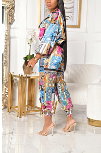 Casual Polyester Pop Art Print Long Sleeve Waist Tie Overall Jumpsuit LY5897