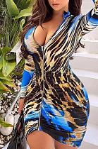 Sexy mini-jurk met lange mouwen en diepe V-hals, ruches en luipaardprint ML7389