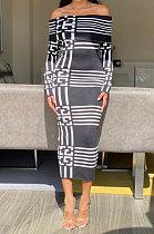 Vestido xadrez sexy de manga longa com uma palavra led de cintura alta MY9710
