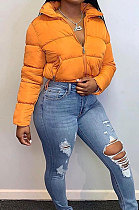 Fashion Long Sleeve Cardigan Stand Collar Keep Warm Casual Bread Down Jacket Coat FWB20504