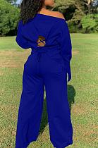 Casual Sporty Long Sleeve Off Shoulder Self Belted Wide Leg Pants Sets LS6400