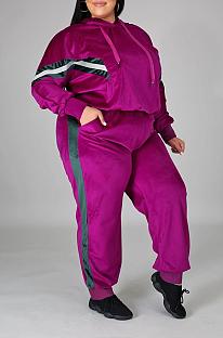 Casual Long Sleeve Spliced Slant Pocket Hoodie Long Pants Sets NY5067