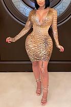 فستان مثير بأكمام طويلة وفتحة رقبة على شكل V CY1295